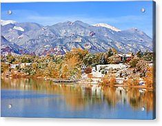 Acrylic Print featuring the photograph Autumn Snow At The Lake by Diane Alexander