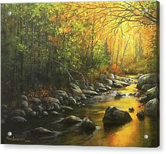 Acrylic Print featuring the painting Autumn Stream by Kim Lockman