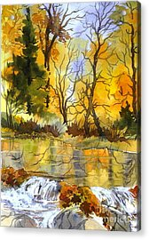 Autumn Stream Acrylic Print by Pat Crowther
