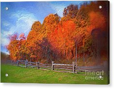 Acrylic Print featuring the digital art Autumn Sunrise At Peaks Of Otter In The Blue Ridge Ap by Dan Carmichael