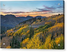Autumn Sunset At Guardsman Pass, Utah Acrylic Print