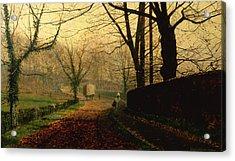 Autumn Sunshine Stapleton Parknear Pontefract  Acrylic Print by John Atkinson Grimshaw