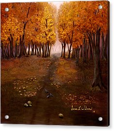 Acrylic Print featuring the painting Autumn Trail by Sena Wilson