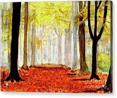 Acrylic Print featuring the painting Autumn Trail by Yoshiko Mishina