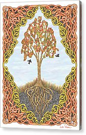 Autumn Tree With Knotted Roots And Knotted Border Acrylic Print