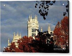 Autumn Trees And Palace Of Communication Madrid Acrylic Print