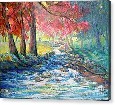 Acrylic Print featuring the painting Autumn View Of Bubbling Creek by Lee Nixon