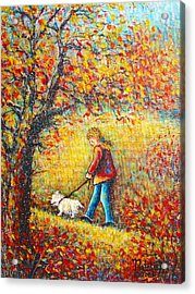 Acrylic Print featuring the painting Autumn Walk  by Natalie Holland