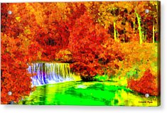 Autumn Waterfall - Da Acrylic Print by Leonardo Digenio