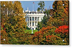 Acrylic Print featuring the photograph Autumn White House by Mitch Cat