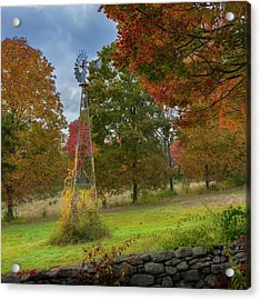 Acrylic Print featuring the photograph Autumn Windmill Square by Bill Wakeley