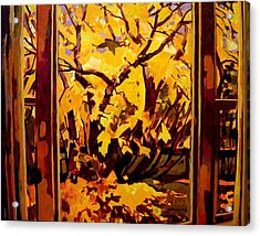 Acrylic Print featuring the painting Autumn Window by Tim  Heimdal