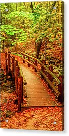Autumn Wooden Bridge Acrylic Print