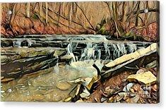 Autumns Arrival At Muscatatuck Falls  Acrylic Print