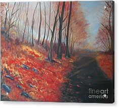 Acrylic Print featuring the painting Autumns Pathway by Leslie Allen