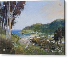 Avalon Harbor - Taking The High Road Catalina Island Oil Painting Acrylic Print by Karen Winters