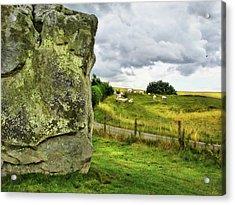 Avebury Standing Stone And Sheep Acrylic Print