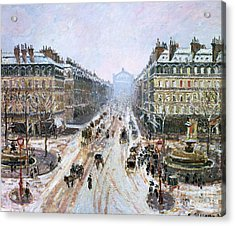 Avenue De L'opera - Effect Of Snow Acrylic Print by Camille Pissarro