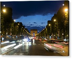 Avenue Des Champs Elysees. Paris Acrylic Print by Bernard Jaubert