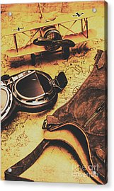 Aviator Goggles Cap And Airplane On Old World Map Acrylic Print by Jorgo Photography - Wall Art Gallery