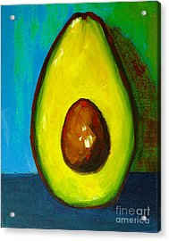 Avocado, Modern Art, Kitchen Decor, Blue Green Background Acrylic Print
