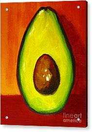 Avocado Modern Art, Kitchen Decor, Orange And Red Background Acrylic Print