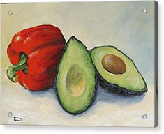 Avocado With Bell Pepper Acrylic Print
