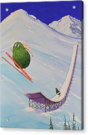 Acrylic Print featuring the painting Avocados Can Fly by Mary Scott
