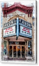 Acrylic Print featuring the painting Avon Cinema Theater East Providence Rhode Island by Edward Fielding