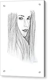 Acrylic Print featuring the drawing Avril by Rebecca Wood