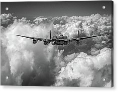 Acrylic Print featuring the photograph Avro Lancaster Above Clouds Bw Version by Gary Eason
