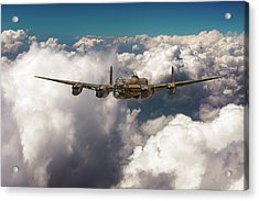 Acrylic Print featuring the photograph Avro Lancaster Above Clouds by Gary Eason
