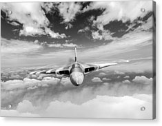 Acrylic Print featuring the digital art Avro Vulcan Head On Above Clouds by Gary Eason