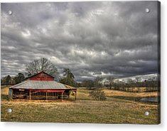 Awaiting Spring The Red Barn Acrylic Print by Reid Callaway