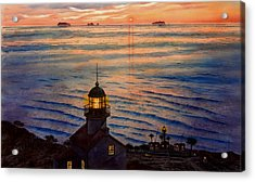 Awesome Sunset At Pt. Loma Lighthouse Acrylic Print by John YATO