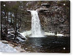 Awosting Falls In January #1 Acrylic Print by Jeff Severson
