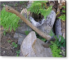 Axe In Log Acrylic Print by Richard Mitchell