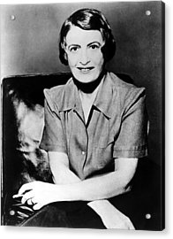 Ayn Rand, 1957 Author Of Atlas Shrugged Acrylic Print