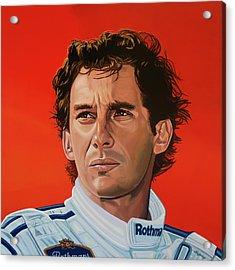 Ayrton Senna Portrait Painting Acrylic Print by Paul Meijering