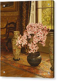 Azalea In A Japanese Bowl, With Chinese Vases On An Oriental Rug Acrylic Print by Jessica Hayllar