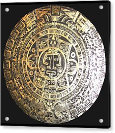 Acrylic Print featuring the drawing Aztec Calendar by Michelle Dallocchio