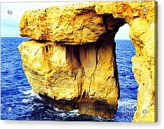 Azure Window Island Of Gozo Acrylic Print by Thomas R Fletcher