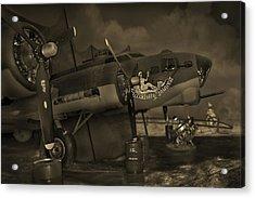 B - 17 Field Maintenance  Acrylic Print by Mike McGlothlen