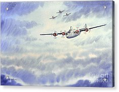 Acrylic Print featuring the painting B-24 Liberator Aircraft Painting by Bill Holkham