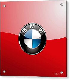 B M W Badge On Red  Acrylic Print