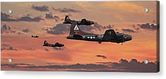Acrylic Print featuring the digital art B17 - Sunset Home by Pat Speirs