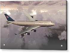 Acrylic Print featuring the digital art B747-400  by Mike Ray