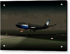 Acrylic Print featuring the digital art B747-400 Night Landing by Mike Ray