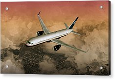 Acrylic Print featuring the digital art B757 Dawn Approach by Mike Ray