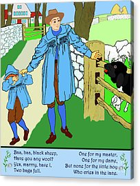Baa, Baa, Black Sheep Nursery Rhyme Acrylic Print by Marian Cates